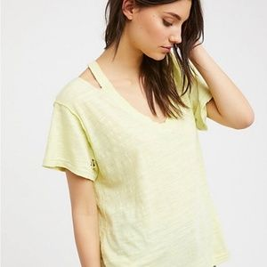 Free People yellow distressed t shirt